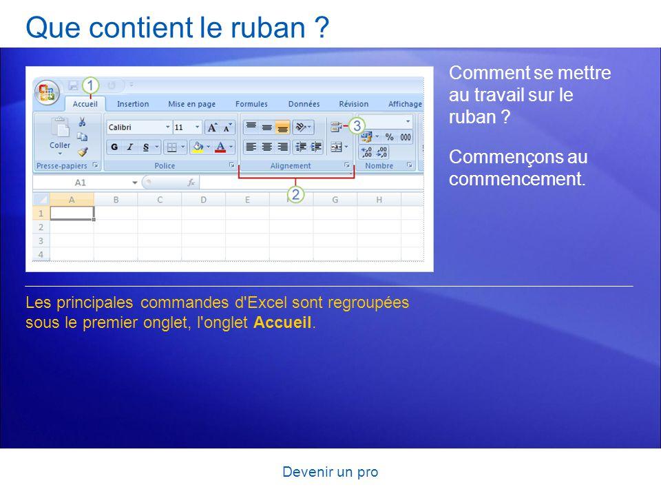 Devenir un pro Que contient le ruban ? Comment se mettre au travail sur le ruban ? Les principales commandes d'Excel sont regroupées sous le premier o