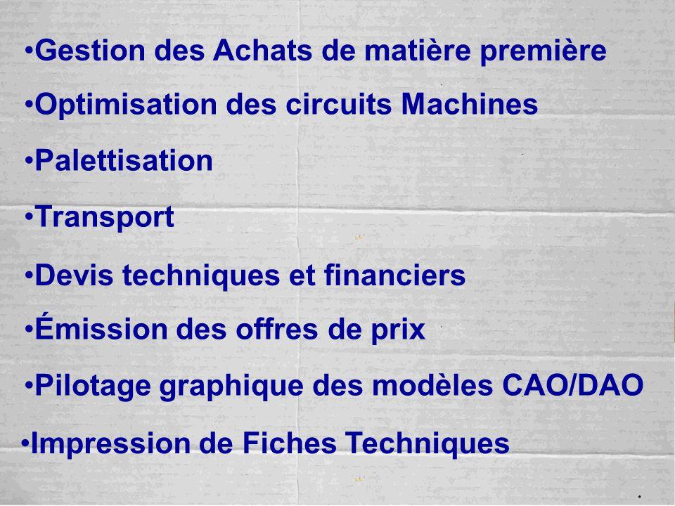 Gestion des Achats de matière première Optimisation des circuits Machines Palettisation Transport Devis techniques et financiers Émission des offres d