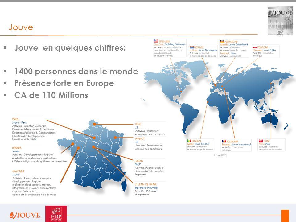 Jouve  Jouve en quelques chiffres:  1400 personnes dans le monde  Présence forte en Europe  CA de 110 Millions
