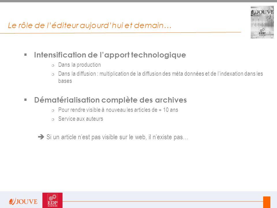 Le rôle de l'éditeur aujourd'hui et demain…  Intensification de l'apport technologique  Dans la production  Dans la diffusion : multiplication de l