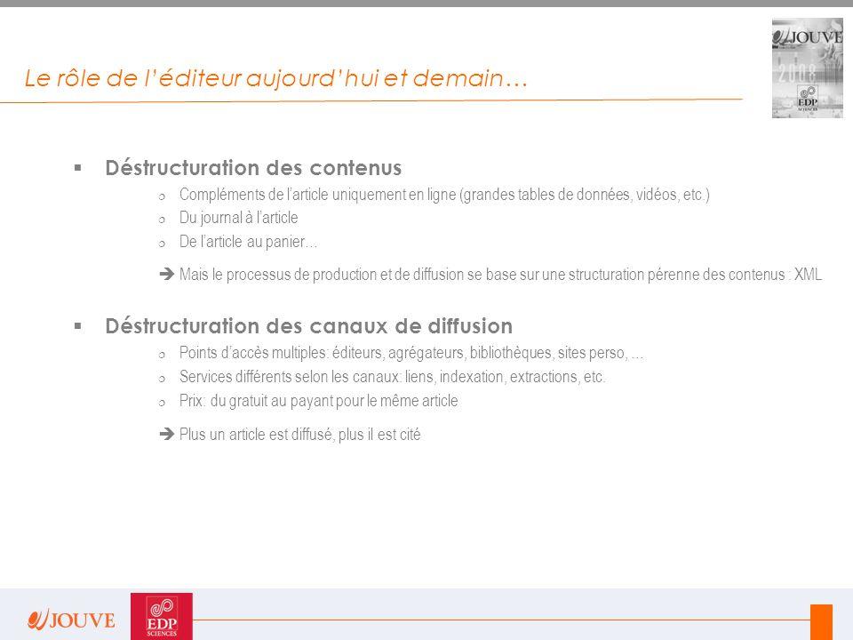 Le rôle de l'éditeur aujourd'hui et demain…  Déstructuration des contenus  Compléments de l'article uniquement en ligne (grandes tables de données,
