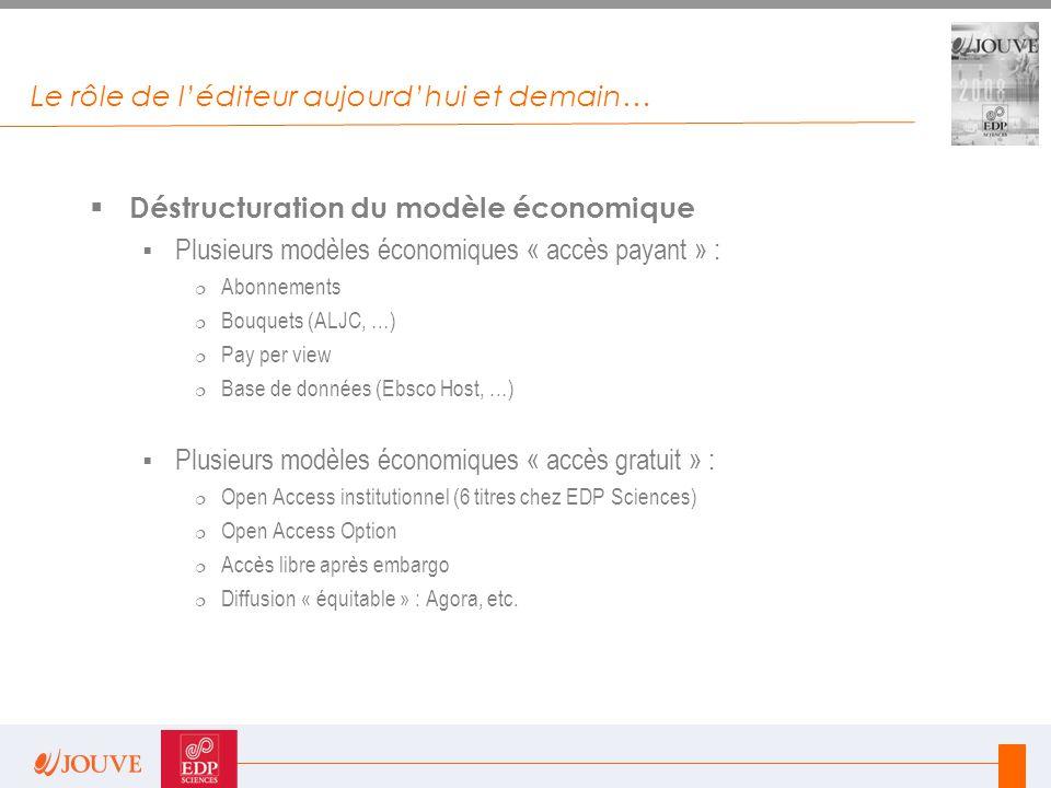 Le rôle de l'éditeur aujourd'hui et demain…  Déstructuration du modèle économique  Plusieurs modèles économiques « accès payant » :  Abonnements 