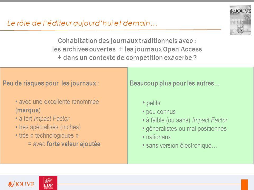 Le rôle de l'éditeur aujourd'hui et demain… Cohabitation des journaux traditionnels avec : les archives ouvertes + les journaux Open Access + dans un