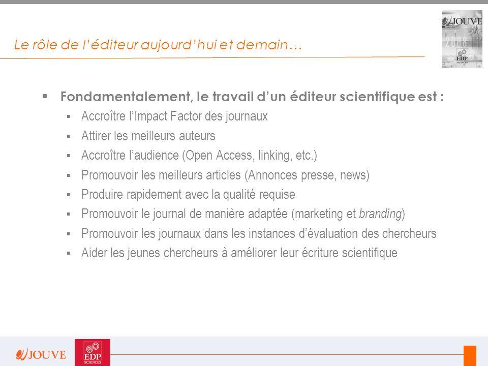 Le rôle de l'éditeur aujourd'hui et demain…  Fondamentalement, le travail d'un éditeur scientifique est :  Accroître l'Impact Factor des journaux 