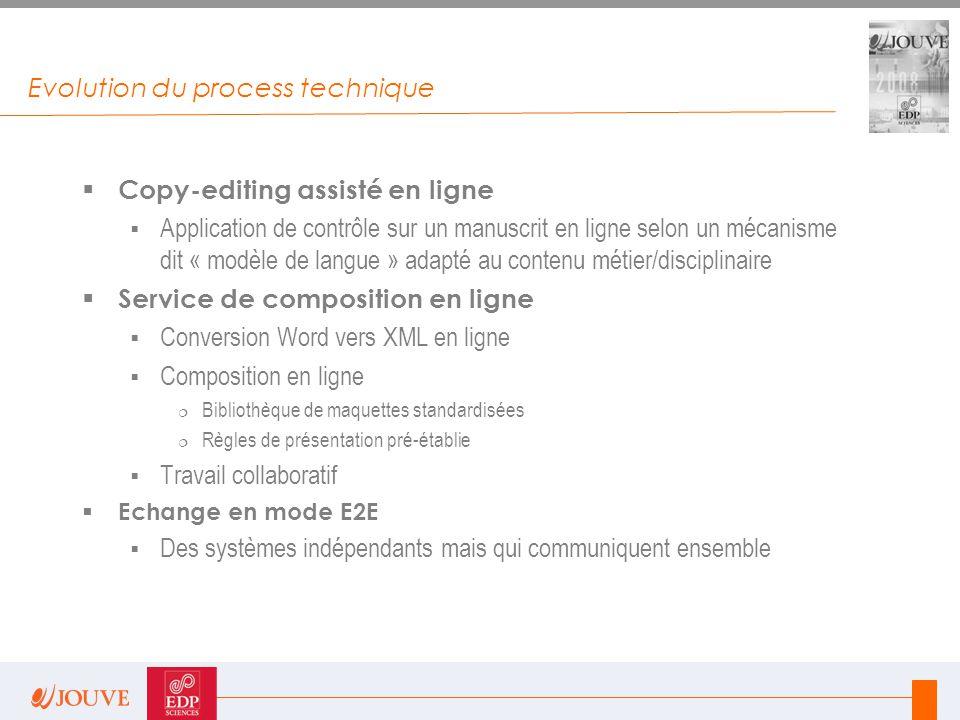 Evolution du process technique  Copy-editing assisté en ligne  Application de contrôle sur un manuscrit en ligne selon un mécanisme dit « modèle de