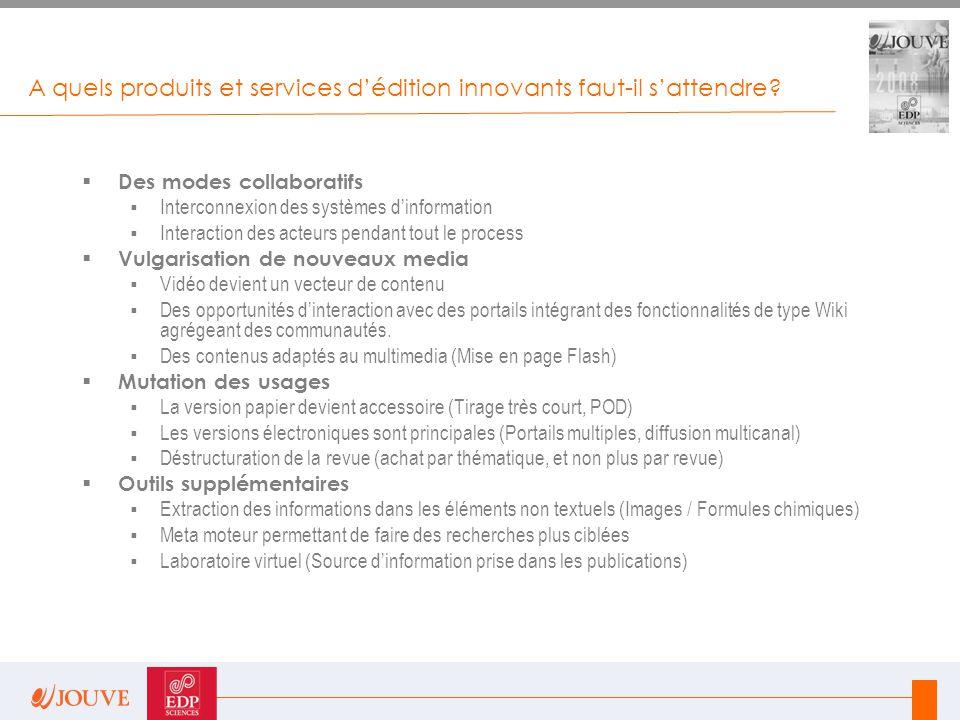 A quels produits et services d'édition innovants faut-il s'attendre?  Des modes collaboratifs  Interconnexion des systèmes d'information  Interacti