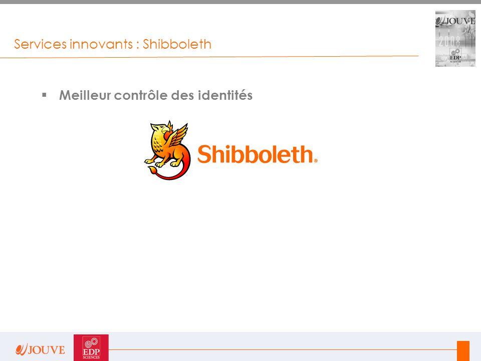 Services innovants : Shibboleth  Meilleur contrôle des identités