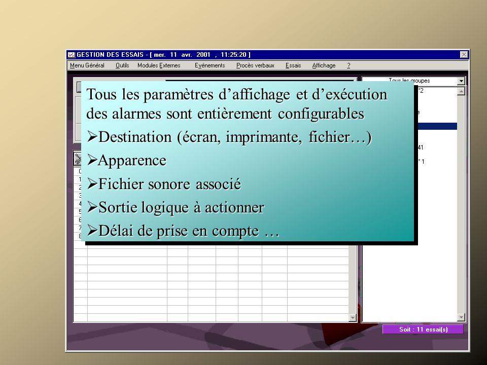 Tous les paramètres d'affichage et d'exécution des alarmes sont entièrement configurables  Destination (écran, imprimante, fichier…)  Apparence  Fichier sonore associé  Sortie logique à actionner  Délai de prise en compte … Tous les paramètres d'affichage et d'exécution des alarmes sont entièrement configurables  Destination (écran, imprimante, fichier…)  Apparence  Fichier sonore associé  Sortie logique à actionner  Délai de prise en compte … Surveiller