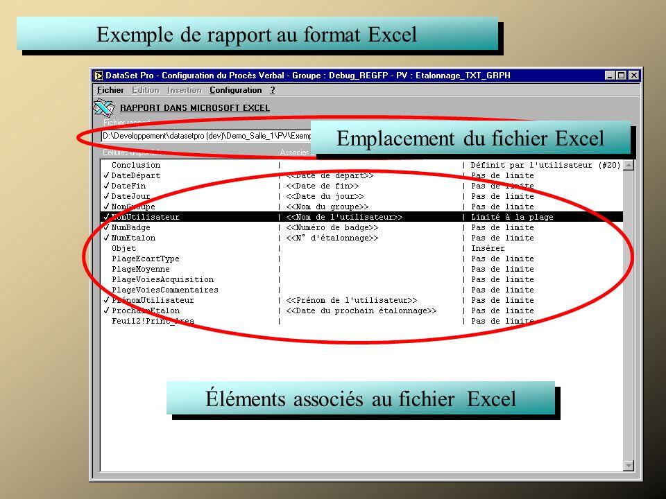 Commenter Exemple de rapport au format Excel Emplacement du fichier Excel Éléments associés au fichier Excel