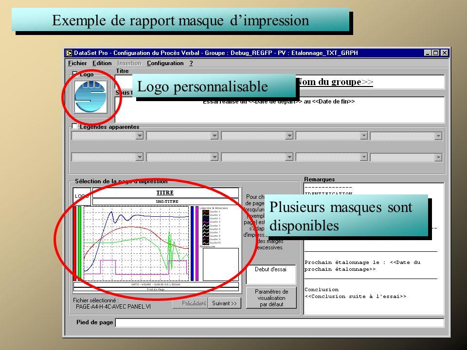 Commenter Exemple de rapport masque d'impression Plusieurs masques sont disponibles Logo personnalisable