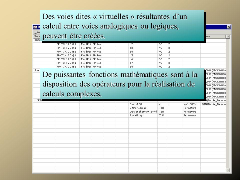 Acquérir Des voies dites « virtuelles » résultantes d'un calcul entre voies analogiques ou logiques, peuvent être créées.