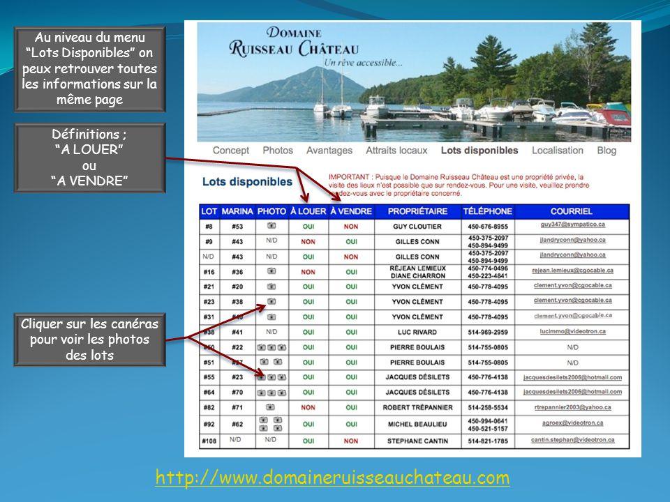 http://www.domaineruisseauchateau.com Au niveau du menu Lots Disponibles on peux retrouver toutes les informations sur la même page Définitions ; A LOUER ou A VENDRE Cliquer sur les canéras pour voir les photos des lots