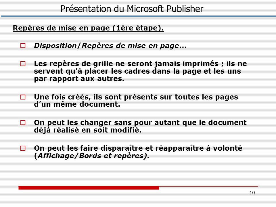 10  Disposition/Repères de mise en page...