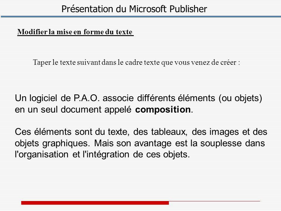 Présentation du Microsoft Publisher Modifier la mise en forme du texte Taper le texte suivant dans le cadre texte que vous venez de créer : Un logiciel de P.A.O.