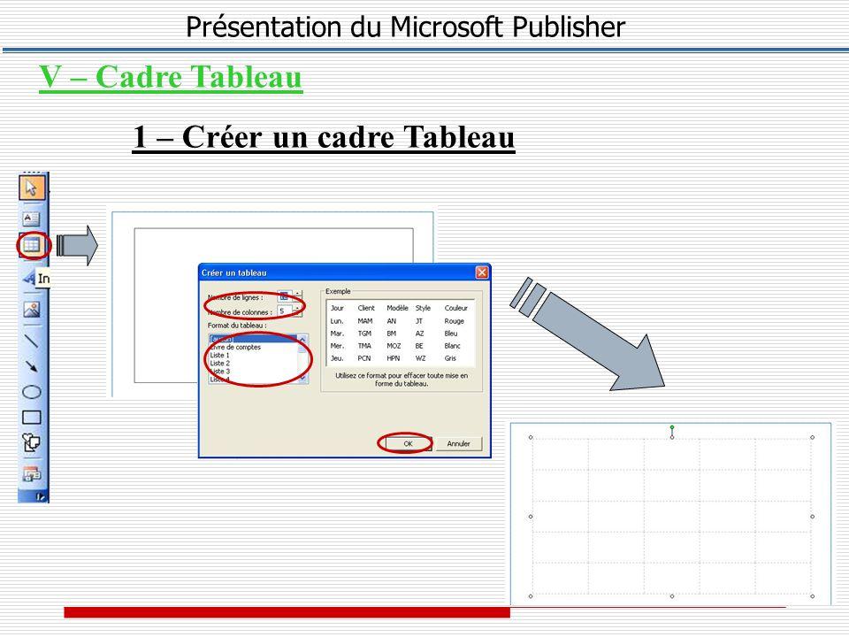 Présentation du Microsoft Publisher V – Cadre Tableau 1 – Créer un cadre Tableau