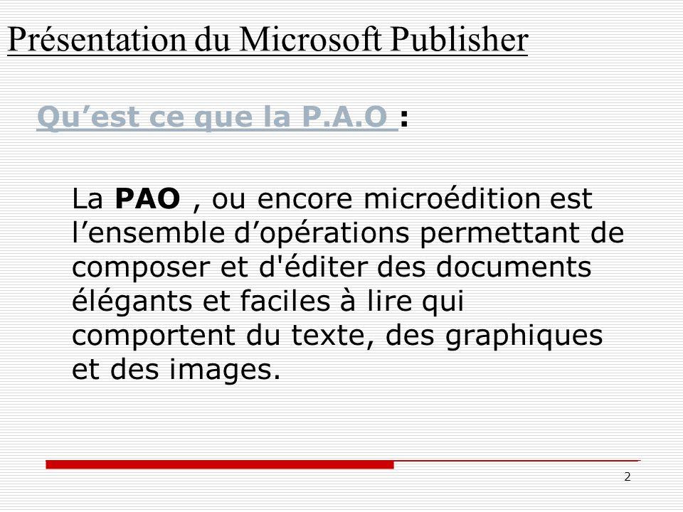 Présentation du Microsoft Publisher Mise en forme automatique à un tableau
