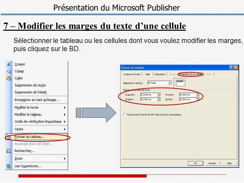 Présentation du Microsoft Publisher 7 – Modifier les marges du texte d'une cellule Sélectionner le tableau ou les cellules dont vous voulez modifier les marges, puis cliquez sur le BD.