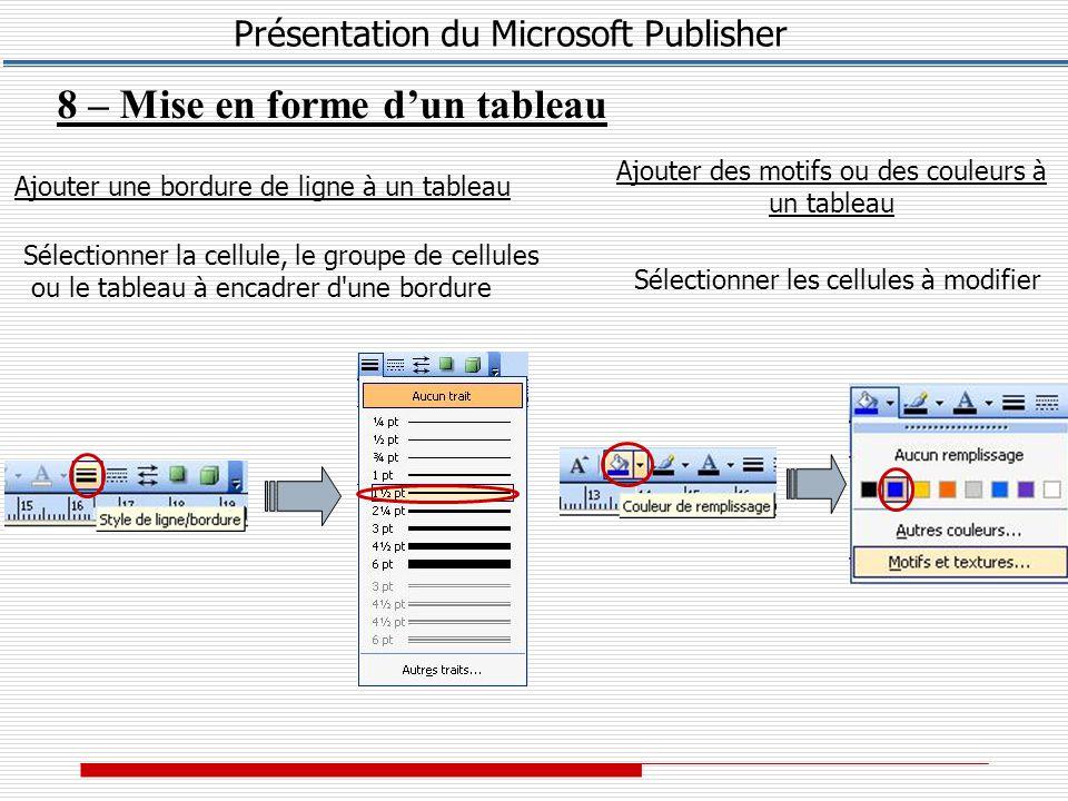 Présentation du Microsoft Publisher 8 – Mise en forme d'un tableau Ajouter une bordure de ligne à un tableau Sélectionner la cellule, le groupe de cellules ou le tableau à encadrer d une bordure Ajouter des motifs ou des couleurs à un tableau Sélectionner les cellules à modifier