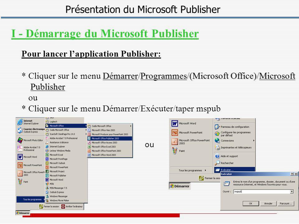Présentation du Microsoft Publisher Créer un cadre * Dans la barre d outils Objets, cliquez sur Cadre de texte * Positionnez le pointeur de la souris là où vous souhaitez afficher puis faites glisser la souris en diagonale.