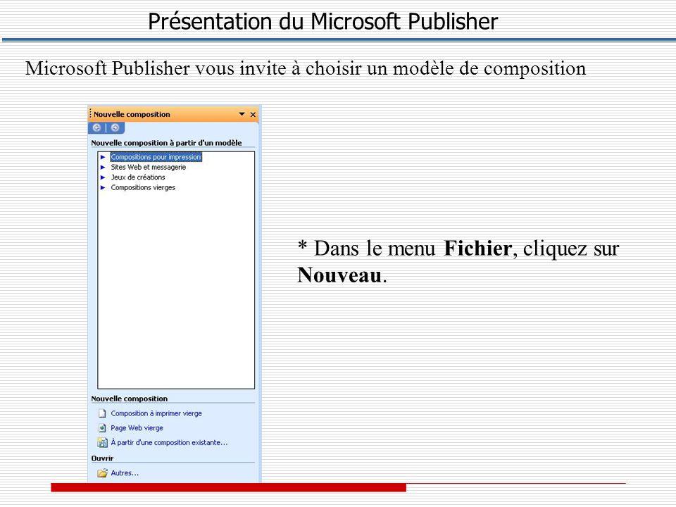 Présentation du Microsoft Publisher Microsoft Publisher vous invite à choisir un modèle de composition * Dans le menu Fichier, cliquez sur Nouveau.