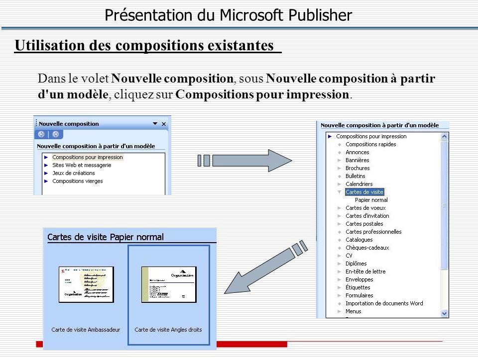 Utilisation des compositions existantes Dans le volet Nouvelle composition, sous Nouvelle composition à partir d un modèle, cliquez sur Compositions pour impression.