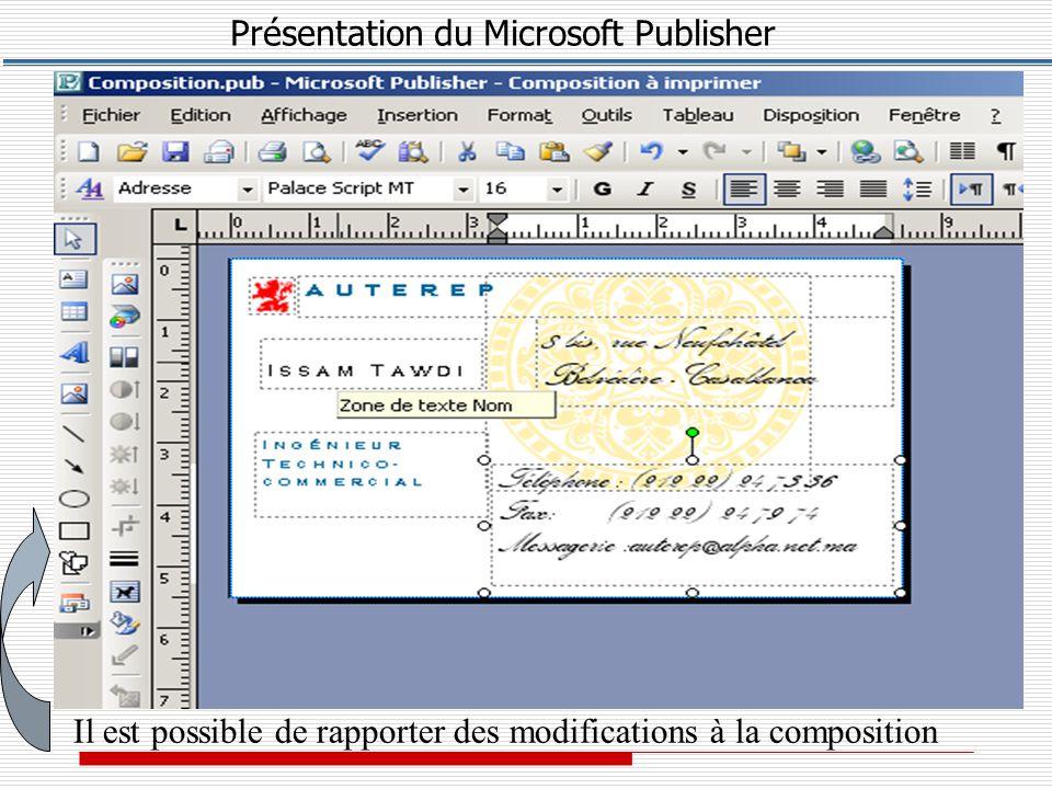 Présentation du Microsoft Publisher 2 – Supprimer un Tableau * Cliquer sur le bord du tableau, puis cliquez avec le BD.