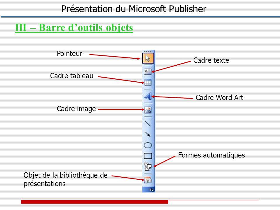 Présentation du Microsoft Publisher Cliquez sur le tableau pour le sélectionner Maintenez le bouton gauche enfoncé et faites glisser la limite de la ligne ou de la colonne jusqu à un nouvel emplacement 6 – Redimensionner une ligne ou une colonne