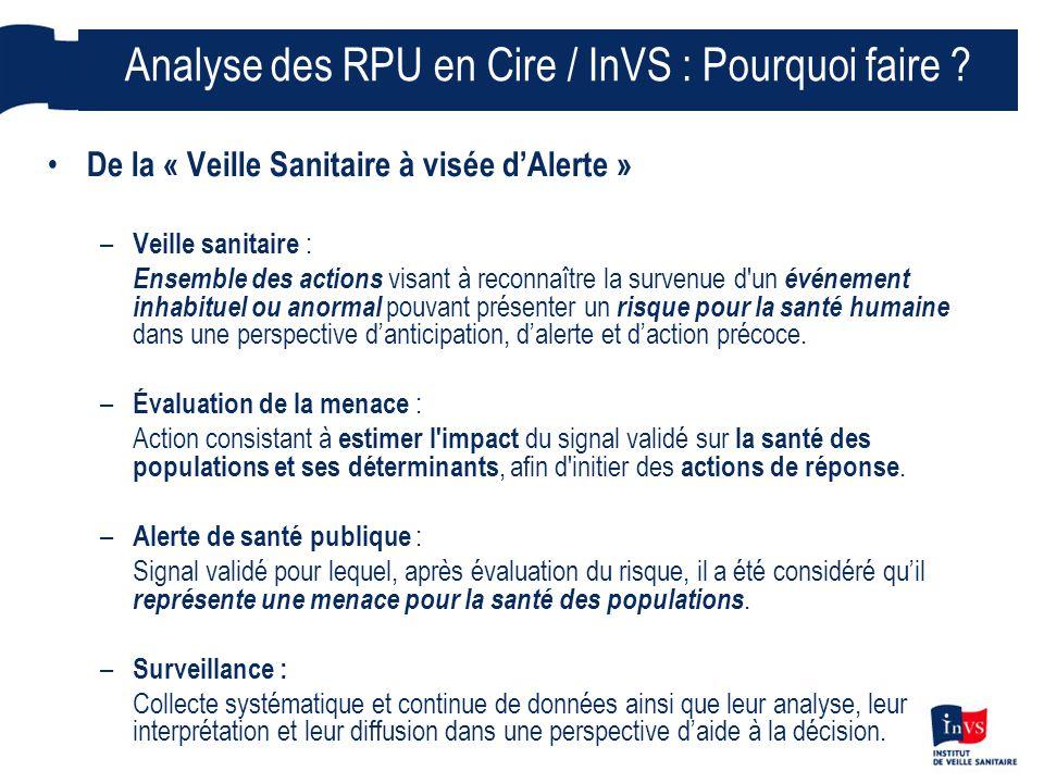 6 « Données agrégées d'activité sur 24h » SU et Samu des plateformes ARH Analyse et suivi par la Cire des indicateurs pré-hospitaliers (Samu) et hospitaliers par Service d'Urgences / établissement sentinelle dans le cadre des missions de l'InVS / Cire : « faute de mieux, en attendant la remontée des RPU vers l'InVS nous ne disposions que : » – Nb d'affaires traitées par le SAMU : nombre total de dossiers de régulation médicale (une affaire/plusieurs appels) – Nombre total de primo-passage aux Urgences : nombre de passage, inclut l'ensemble des passages, qu'ils soient ou non suivis d'une hospitalisation, donnant lieu à l'ouverture d'un dossier médical au service des urgences.