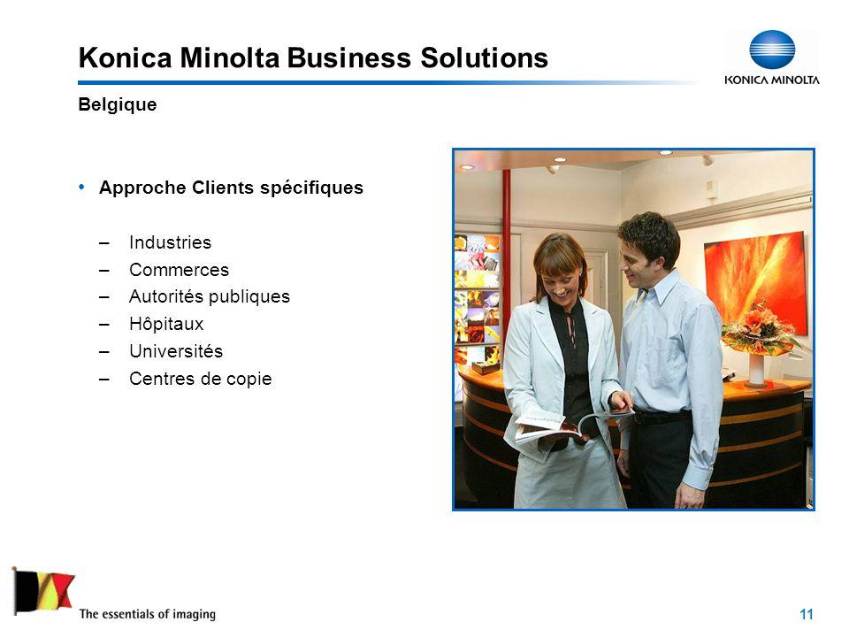 11 Konica Minolta Business Solutions Approche Clients spécifiques – Industries – Commerces – Autorités publiques – Hôpitaux – Universités – Centres de copie Belgique