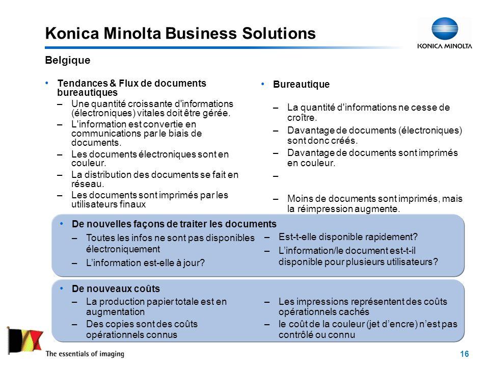 16 Konica Minolta Business Solutions Tendances & Flux de documents bureautiques –Une quantité croissante d informations (électroniques) vitales doit être gérée.