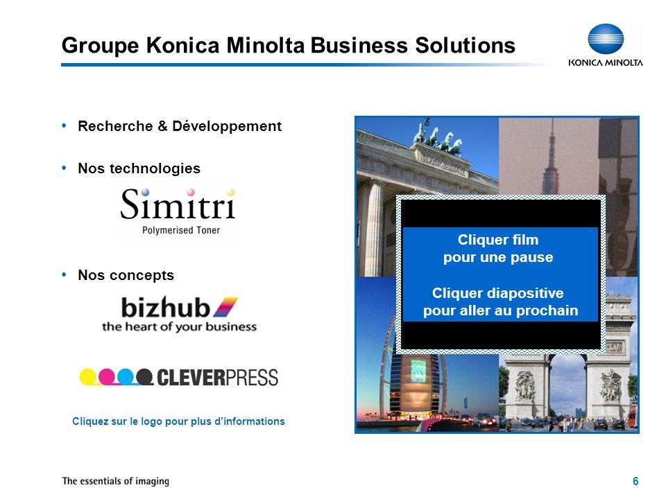 6 Groupe Konica Minolta Business Solutions Recherche & Développement Nos technologies Nos concepts Cliquer film pour une pause Cliquer diapositive pour aller au prochain Cliquez sur le logo pour plus d'informations