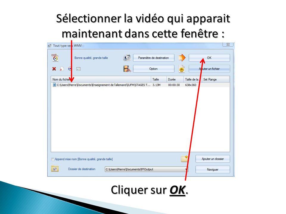 Sélectionner la vidéo qui apparait maintenant dans cette fenêtre : Cliquer sur OK.