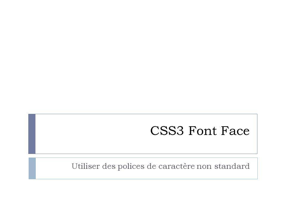 Le séléecteur @font-face Format du fichier de police: Otf pour Firefox, Chrome, Opera Eot pour Internet Explorer Il existe aussi les formats: Svg Ttf Woff (Web Open Format Font) Dans l'avenir le format woff devrait logiquement s'imposer, il s'agit d'un standard W3C depuis 2009.