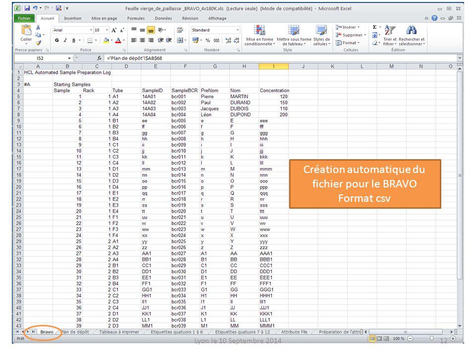 Création automatique du fichier pour le BRAVO Format csv Lyon le 10 Septembre 201412