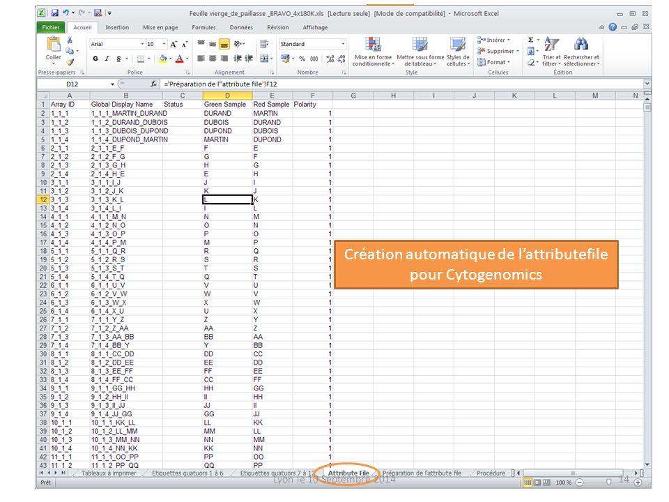 Création automatique de l'attributefile pour Cytogenomics Lyon le 10 Septembre 201414