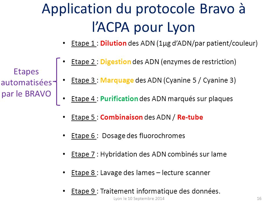 Etape 1 : Dilution des ADN (1µg d'ADN/par patient/couleur) Etape 2 : Digestion des ADN (enzymes de restriction) Etape 3 : Marquage des ADN (Cyanine 5 / Cyanine 3) Etape 4 : Purification des ADN marqués sur plaques Etape 5 : Combinaison des ADN / Re-tube Etape 6 : Dosage des fluorochromes Etape 7 : Hybridation des ADN combinés sur lame Etape 8 : Lavage des lames – lecture scanner Etape 9 : Traitement informatique des données.