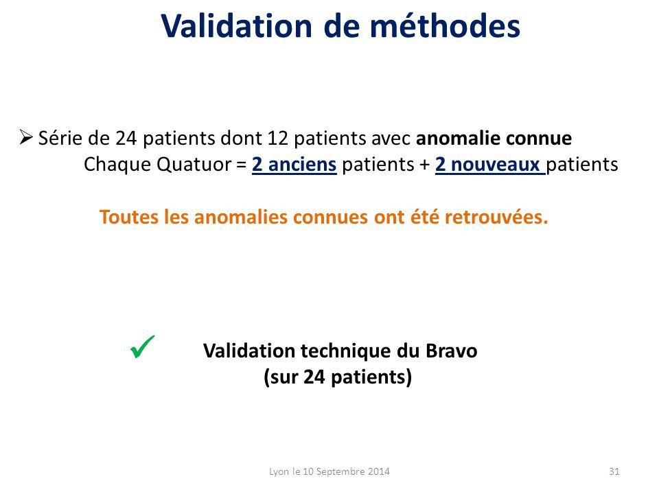 Lyon le 10 Septembre 201431 Validation de méthodes  Série de 24 patients dont 12 patients avec anomalie connue Chaque Quatuor = 2 anciens patients + 2 nouveaux patients Toutes les anomalies connues ont été retrouvées.