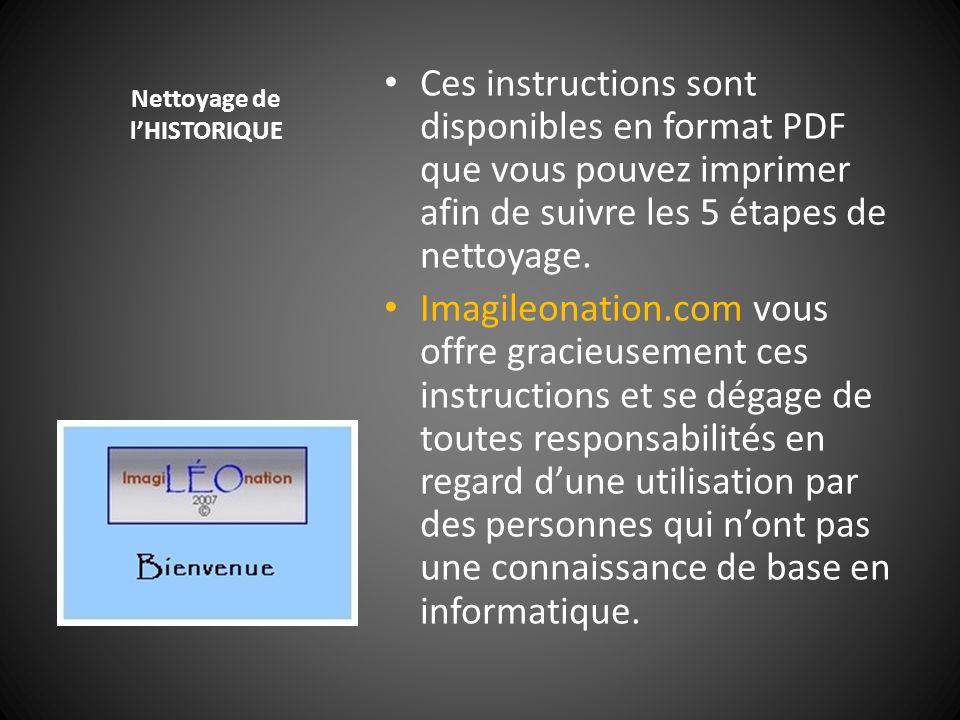 Nettoyage de l'HISTORIQUE Ces instructions sont disponibles en format PDF que vous pouvez imprimer afin de suivre les 5 étapes de nettoyage. Imagileon