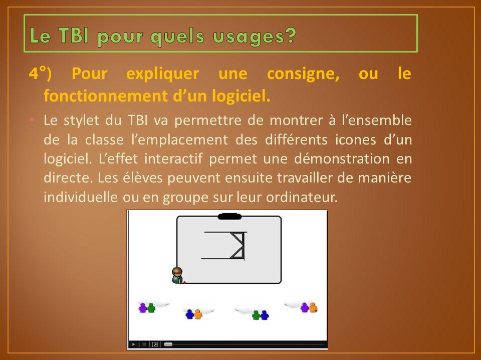 4°) Pour expliquer une consigne, ou le fonctionnement d'un logiciel. Le stylet du TBI va permettre de montrer à l'ensemble de la classe l'emplacement