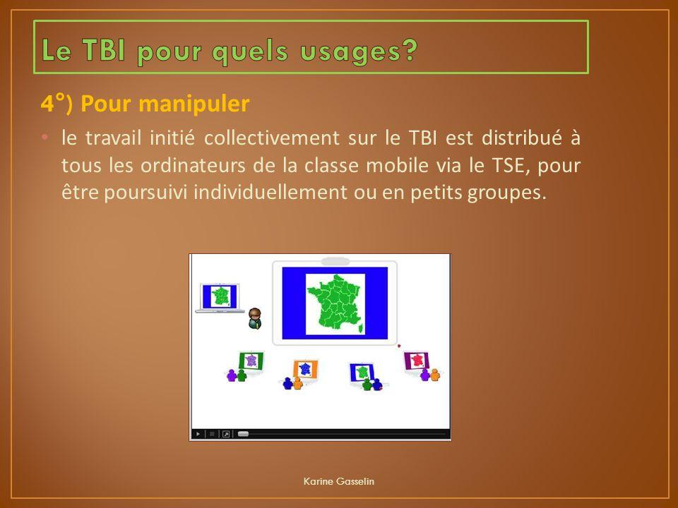 4°) Pour manipuler le travail initié collectivement sur le TBI est distribué à tous les ordinateurs de la classe mobile via le TSE, pour être poursuiv