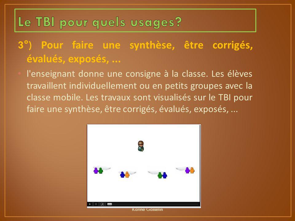 3°) Pour faire une synthèse, être corrigés, évalués, exposés,... l'enseignant donne une consigne à la classe. Les élèves travaillent individuellement