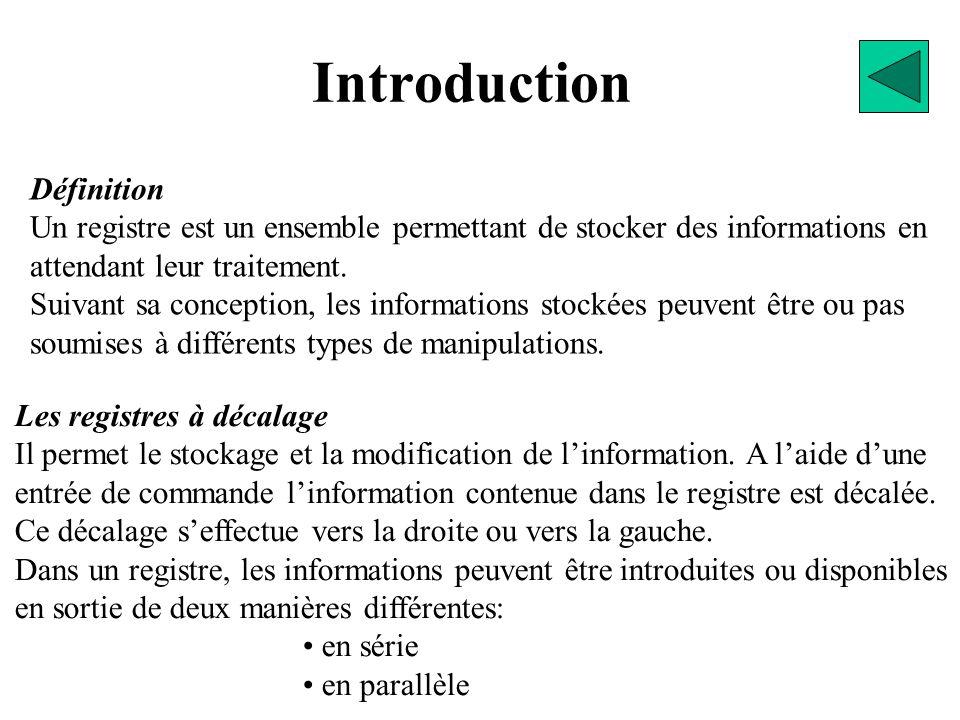 Introduction Définition Un registre est un ensemble permettant de stocker des informations en attendant leur traitement.