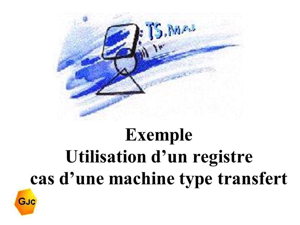 Exemple Utilisation d'un registre cas d'une machine type transfert