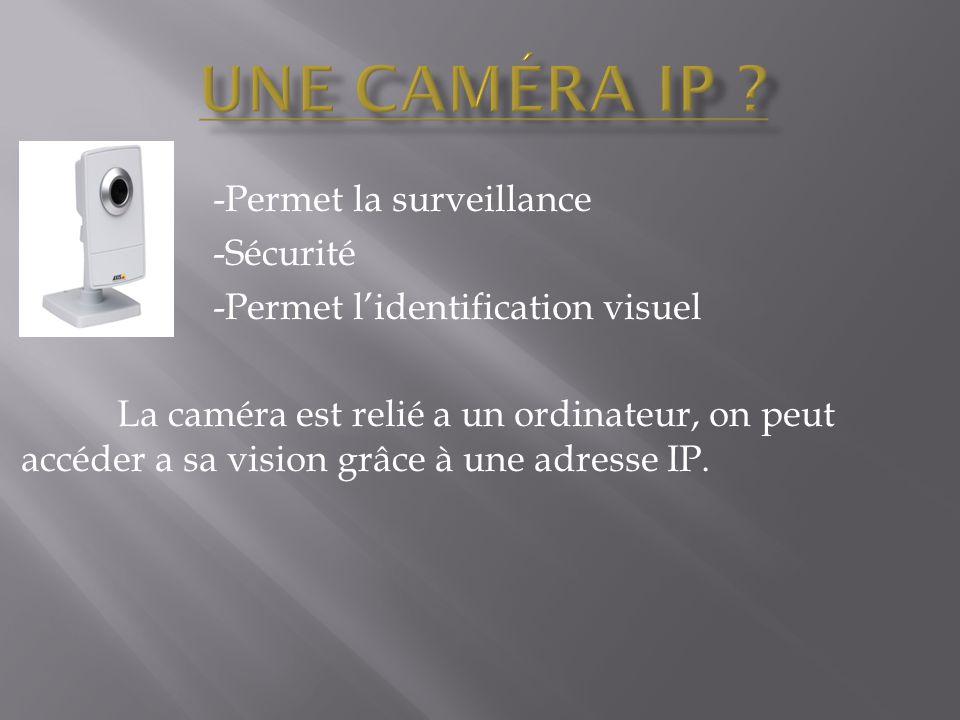 -Permet la surveillance -Sécurité -Permet l'identification visuel La caméra est relié a un ordinateur, on peut accéder a sa vision grâce à une adresse IP.