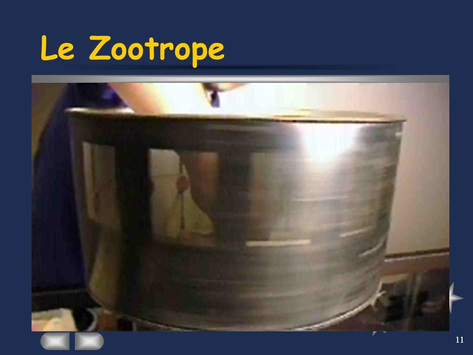 11 Le Zootrope Créé en 1833 par William Horner, le zootrope est un cylindre percé de fentes dans lequel est placée une bande d'un mouvement découpé. A
