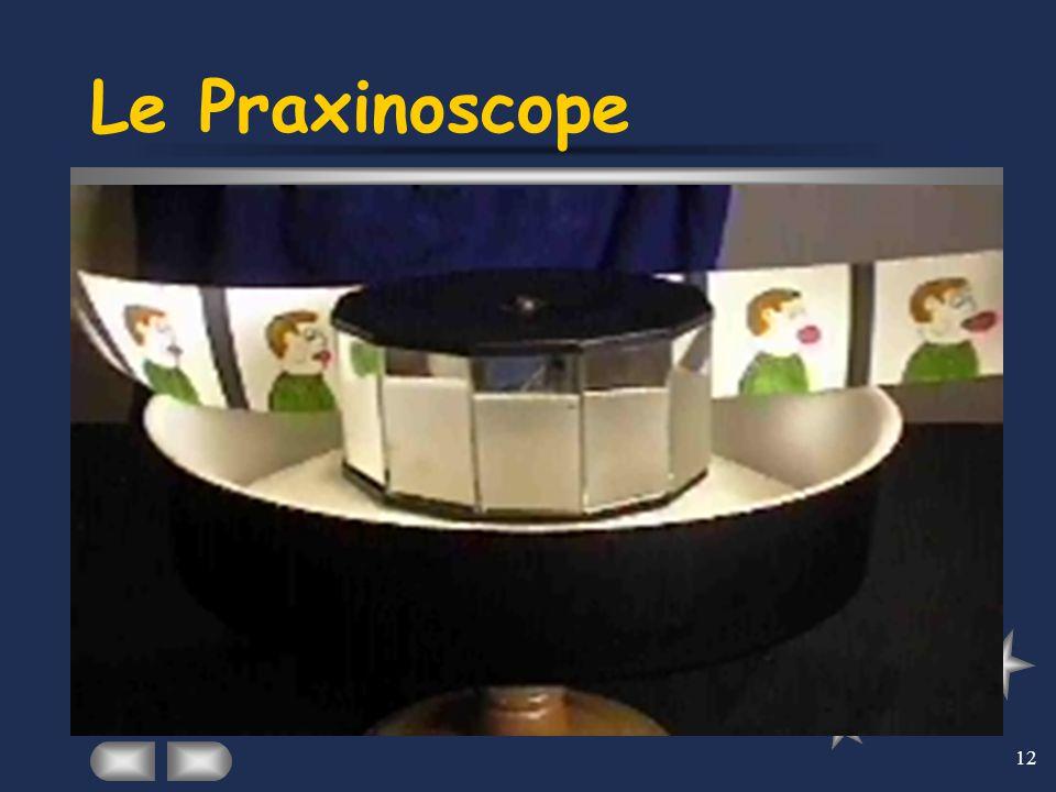 12 Le Praxinoscope En août 1877, un instituteur du Puy-en-Velay, une petite ville du Massif central, dépose un brevet pour un objet qu'il appelle « pr