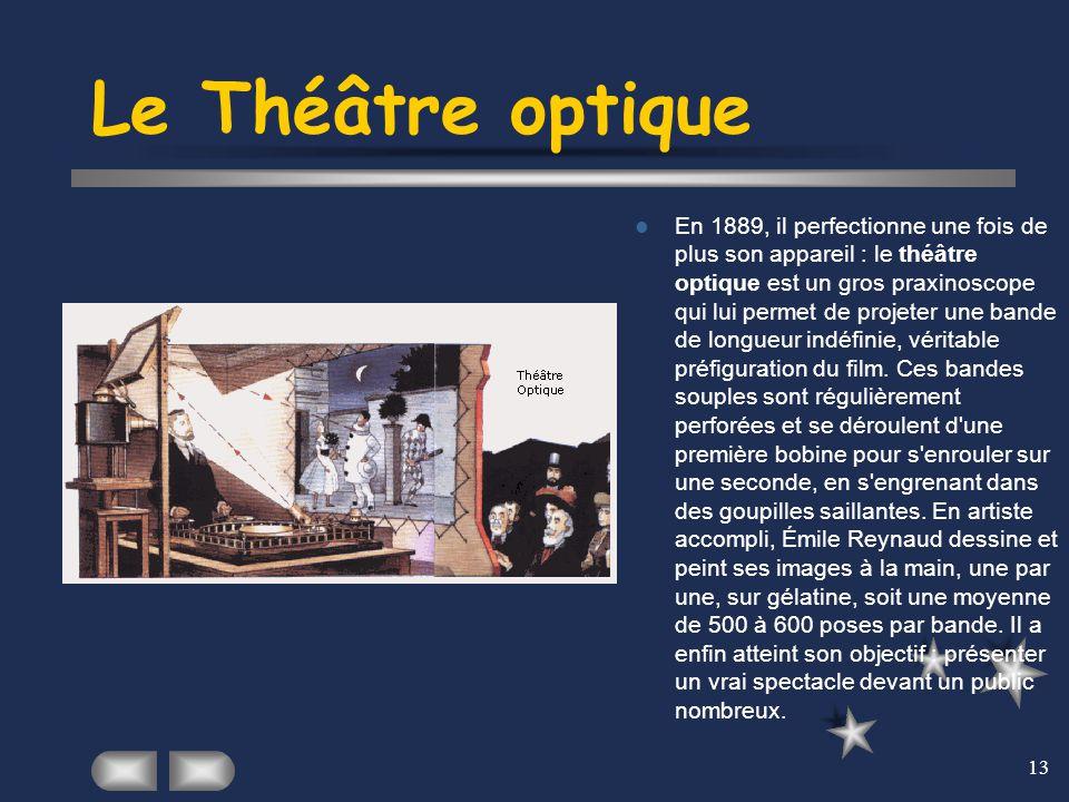 13 Le Théâtre optique En 1889, il perfectionne une fois de plus son appareil : le théâtre optique est un gros praxinoscope qui lui permet de projeter