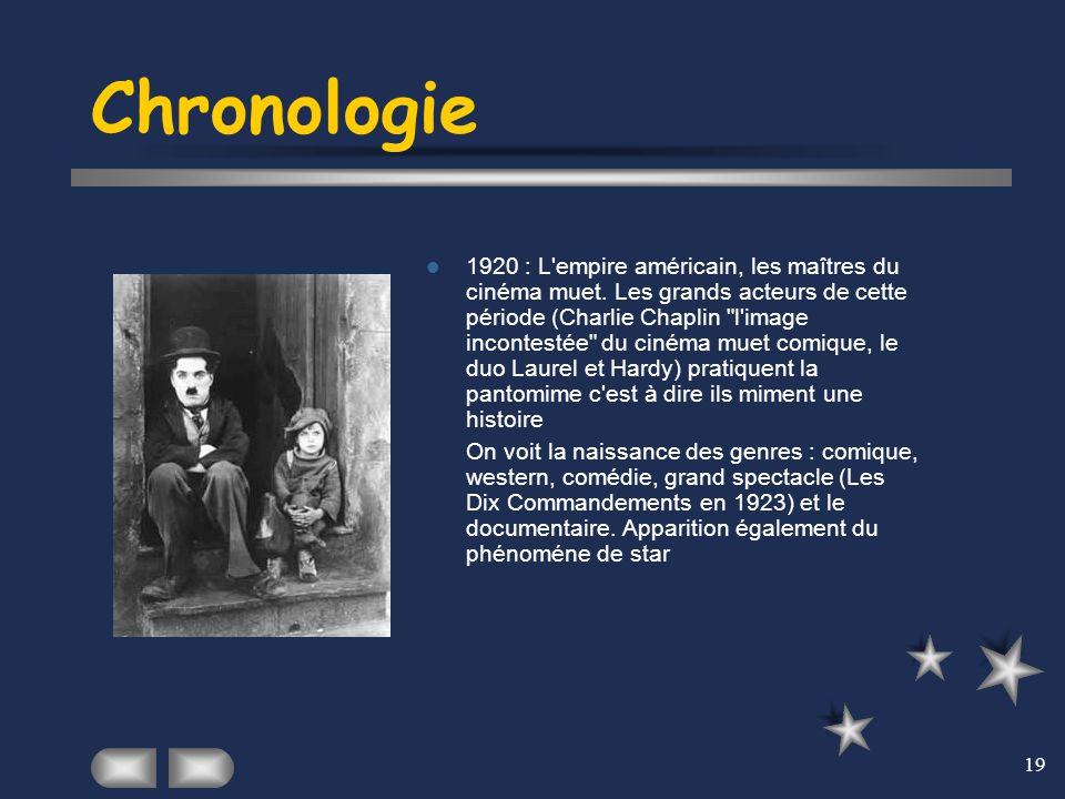 19 Chronologie 1920 : L'empire américain, les maîtres du cinéma muet. Les grands acteurs de cette période (Charlie Chaplin