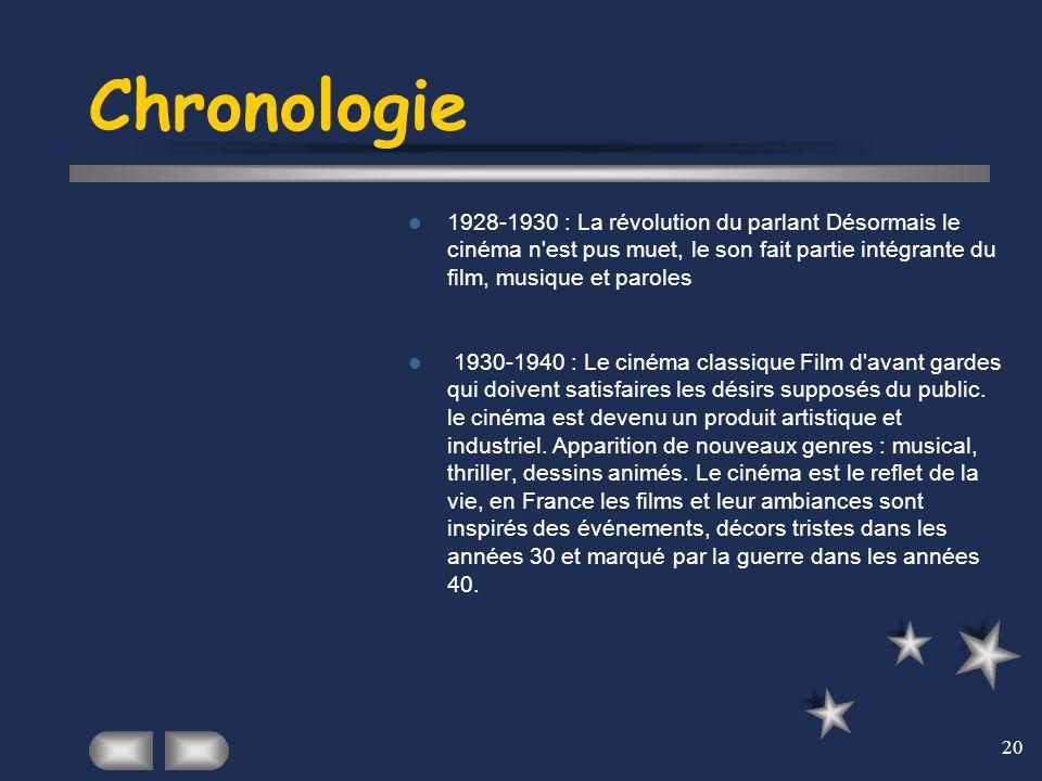 20 Chronologie 1928-1930 : La révolution du parlant Désormais le cinéma n'est pus muet, le son fait partie intégrante du film, musique et paroles 1930