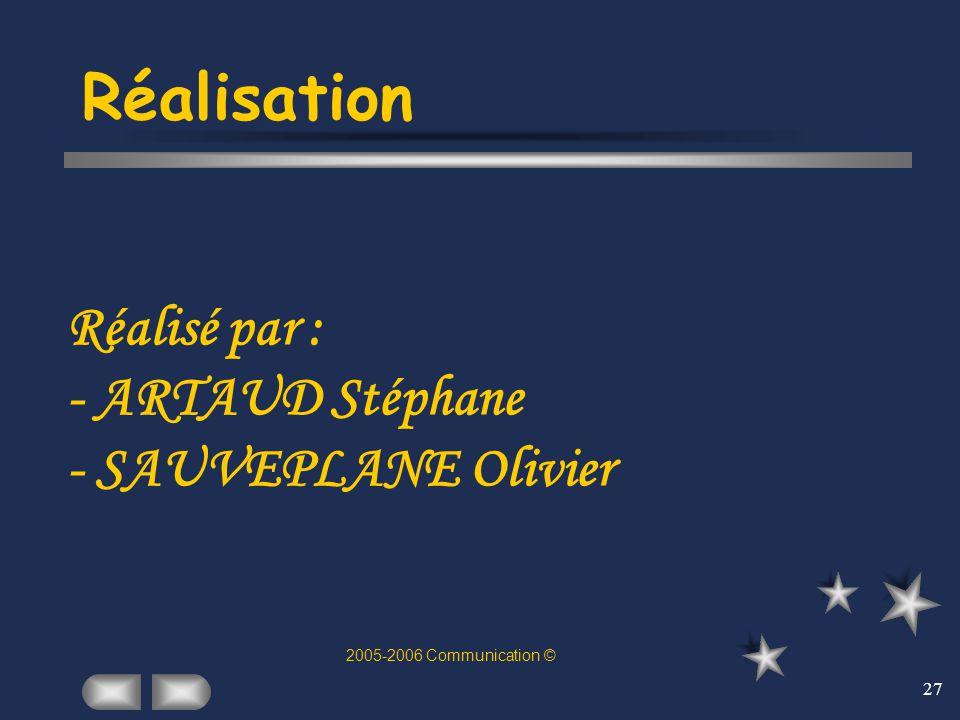 27 Réalisation Réalisé par : - ARTAUD Stéphane - SAUVEPLANE Olivier 2005-2006 Communication ©